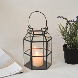 Nordic Rectangular Metal + Glass Lantern for Home Outdoor Garden Decor