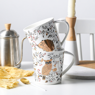Cartoon Matt Ceramic Mug Breakfast Mug Milk Mug Japanese And Korean Style Animal Rattan Mug