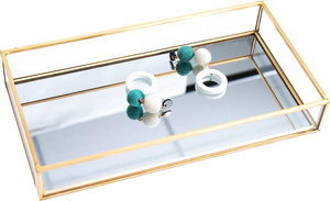 Elegant Vanity Metal Wire Crystal Mirror Serving Tray