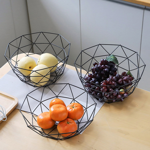 Fruit Basket Geometric Fruit Vegetable Wire Kitchen Storage Basket Metal Bowl
