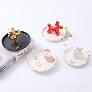 Charming Ceramic Crafts Square Shape Engagement Ring Tray For Gift