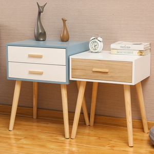 2 Chest of Drawers Bedside Table with Solid Oak Wood Legs And White Matt Finish