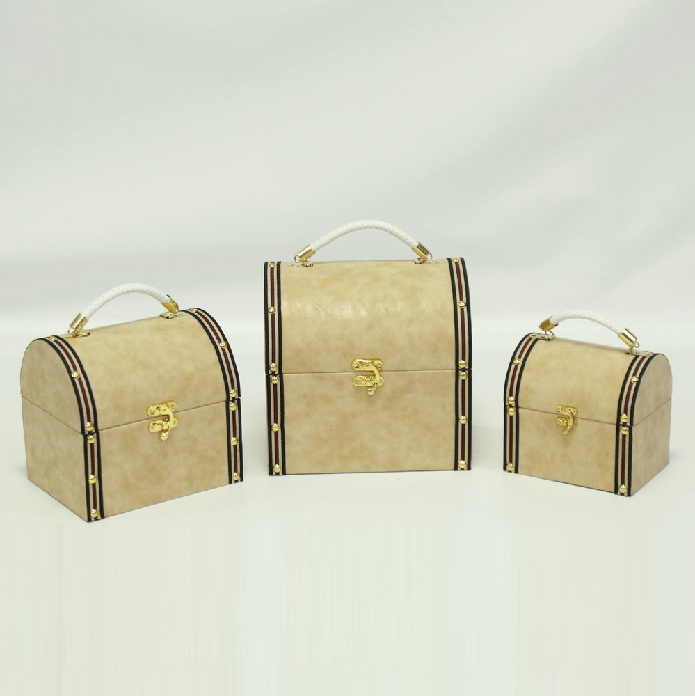 Nested Decorative Wooden Vintage Suitcase with PU Leather Handles