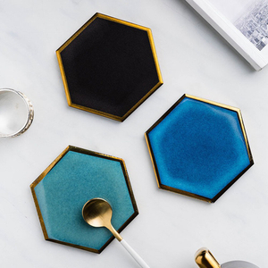 Nordic Hexagon Gold-plated Ceramic Placemat Heat Insulation Coaster Porcelain Mats Pads