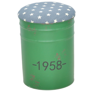 Handmade Painted Round Tin Bucket Shaped Step Stool