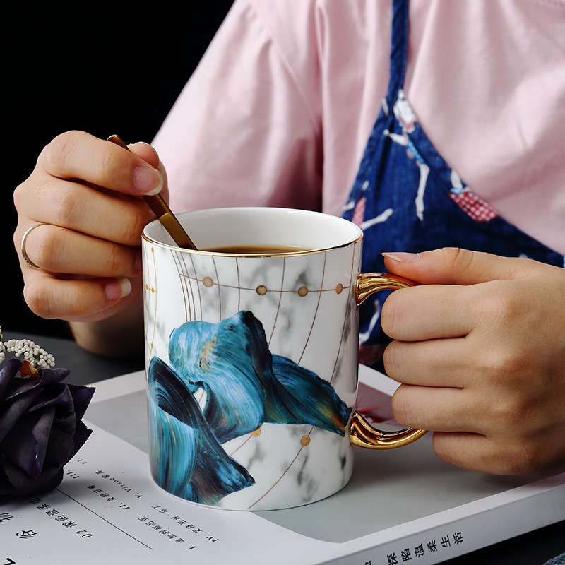 Marble-pattern Ceramic Cup High-end Bone China Mug Creative Coffee Cup Lovers Cup Wedding Gift