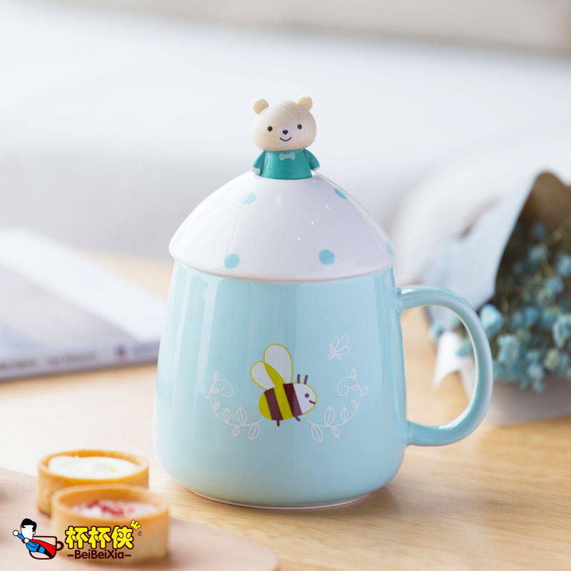 Cartoon Large Capacity Mug with Lid Spoon Breakfast Milk Cup Coffee Cup