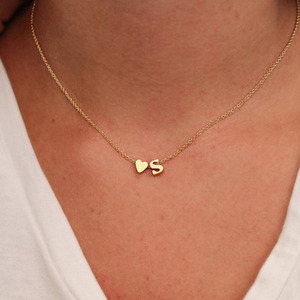 Fashion Tiny Heart Dainty Initial Personalized Letter Name Choker Necklace