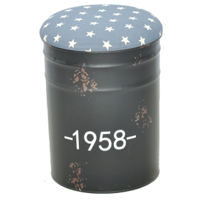 Modern Metal Bucket Base Round Ottoman Stool with Fabric Seat
