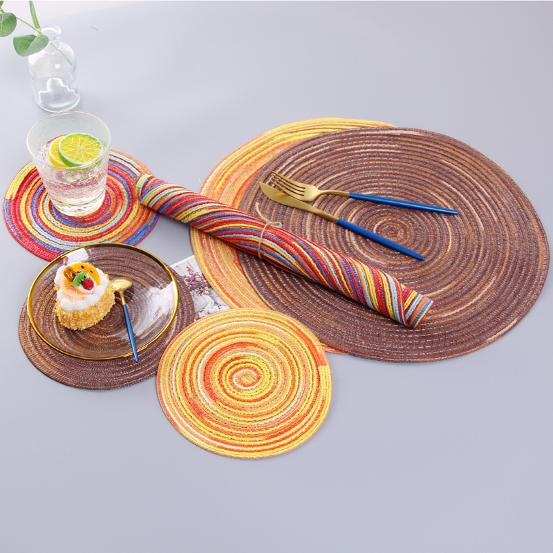 Natural Fiber Placemats And Coasters Straw Weave Placemat For Dining Round Woven Tablemat