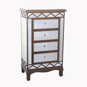 High Quality Venetian Silver Diamond Glitz Mirrored Crystal Bedroom Chest Furniture