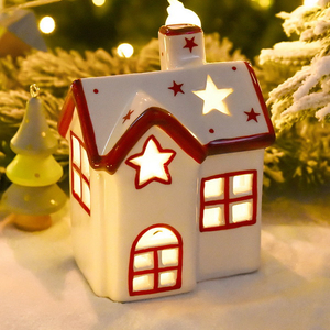 Holiday Christmas Lighted Ceramic Porcelain House For Indoor Use