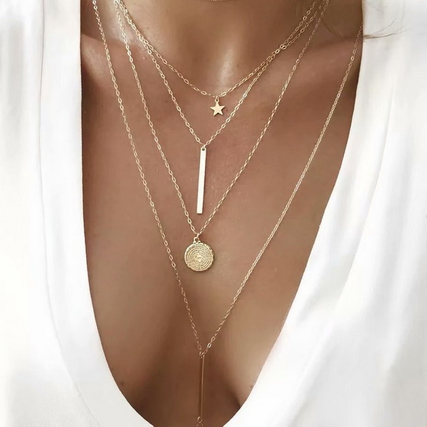 Crystal Pendant Necklace Women Gold Color Beads Moon Star Horn Crescent Choker Necklaces