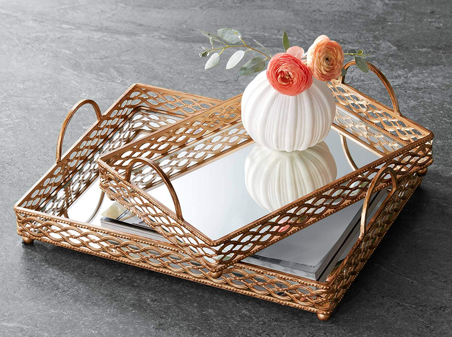Decorative Rectangle Serving Trays Mirror Trays Food Trays