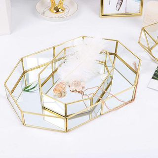 Antique Rose Golden Metal Mirror Storage Tray For Hotel