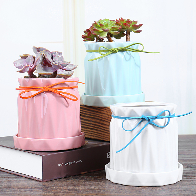 Ceramic Marble Pot With Metal Stand For Succulent Plant