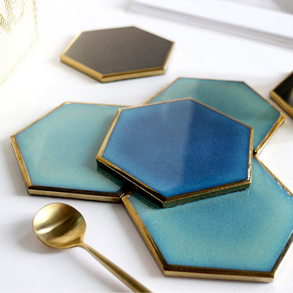 Gold Plated Edge Hexagon Milk Coffee Cup Mats Pad Heat-insulated Non Slip Bowl Placemats