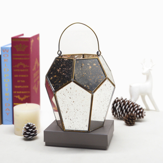Gold Silver Black Rectangle Stainless Steel Metal Centerpieces Glass Candle Holder Storm Lantern