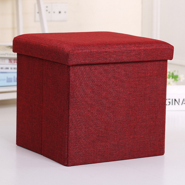 Modern Fabric Square Storage Ottoman Foot Rest Stool Beige Or Customize