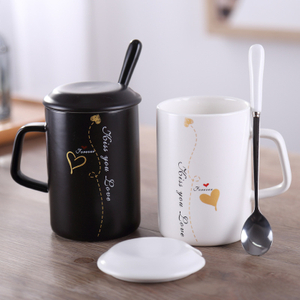 Porcelain Mug Sublimation Custom Shape Coffee Cup Tea With Lid Spoon White Ceramic Mugs